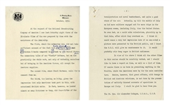 Winston Churchill Manuscript as Prime Minster -- Refuting an American Broadcast on the U.S.s Importance in the WWII European Theater -- ...we did practically the whole work...