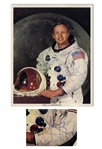Neil Armstrong Signed 8 x 10 Photo in His White Spacesuit -- Near Fine Condition