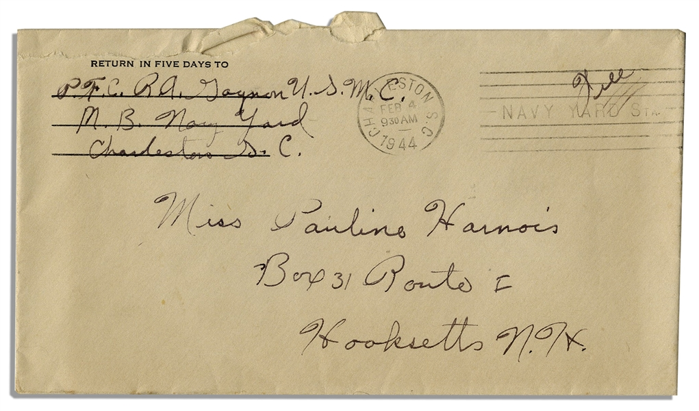WWII Hero Rene Gagnon Autograph Letter Signed & Signed Envelope -- ''...You do whatever your [sic] told and do it on the double. That's the Marine Corps...''