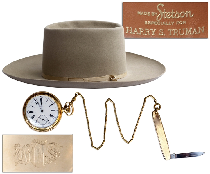 President Harry Truman's Monogrammed Pocket Watch, Pocket Knife & Stetson Hat -- Gifted by Truman to His Secret Service Agent