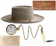 President Harry Trumans Monogrammed Pocket Watch, Pocket Knife & Stetson Hat -- Gifted by Truman to His Secret Service Agent