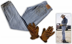 Heath Ledgers Worn Outfit From Brokeback Mountain -- Iconic Wardrobe of Levis Jeans & Ranch-Hand Gloves