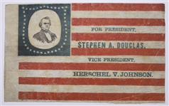 1860 Campaign Portrait Flag Banner for Stephen Douglas -- One of Less Than 10 Known Examples
