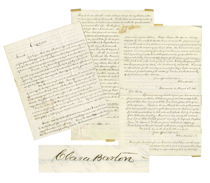 Fascinating Autograph Letter by Clara Barton Marked ''Confidential'' Regarding Missing Soldiers of the Civil War -- With a Report Signed Four Times by Barton Regarding the Andersonville Expedition