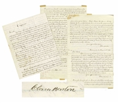 Fascinating Autograph Letter by Clara Barton Marked Confidential Regarding Missing Soldiers of the Civil War -- With a Report Signed Four Times by Barton Regarding the Andersonville Expedition