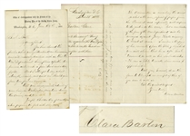 Excellent Clara Barton Autograph Letter Twice-Signed, Regarding the 1866 Trial of Dorence Atwater, the Famous POW at Andersonville Who Smuggled Out the Death List