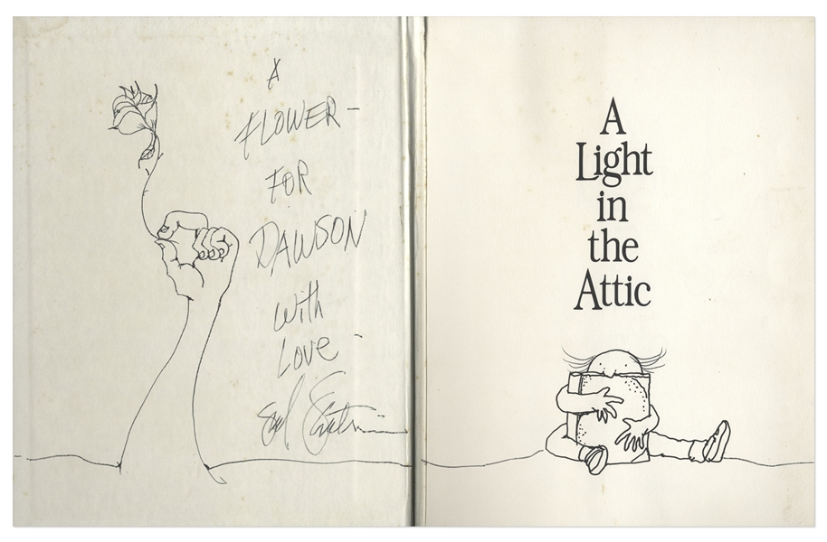 Shel Silverstein Signed First Edition of ''A Light in the Attic'', With Elaborate Hand-Drawn Sketch