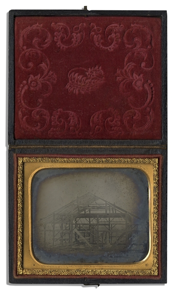 Sixth-Plate Ambrotype Depicting a House Under Construction During the Mid- 1800s