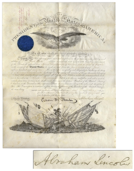 Abraham Lincoln Military Appointment Signed During the Civil War