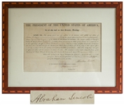 Abraham Lincoln Document Signed as President in 1861, Just Days Before Fort Sumter -- Signed With Lincolns Full Name Abraham Lincoln