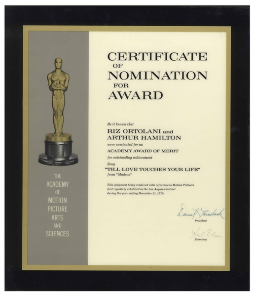1970 Academy Award Nomination for the Song ''Till Love Touches Your Life''
