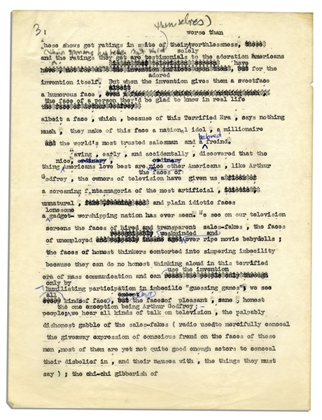 Fascinating Al Capp Typed Criticism of Television With Notes & Corrections in His Hand -- ''...their homes will be invaded by unwholesome, the fraudulent and the idiotic...''