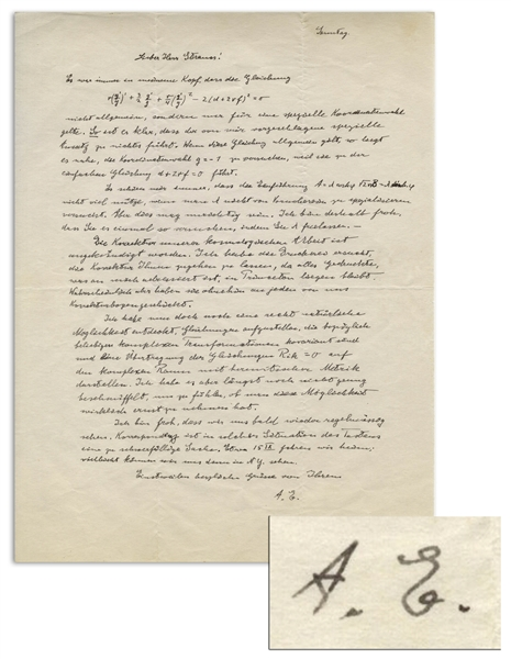 Albert Einstein Autograph Letter Signed to His Assistant, Regarding Einstein's Paper ''Generalization of the Relativistic Theory of Gravitation'' -- With Several Equations in Einstein's Hand