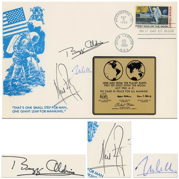 Apollo 11 First Day Cover Boldly Signed by Neil Armstrong, Buzz Aldrin and Michael Collins -- Large Cover Measures 9'' x 6''
