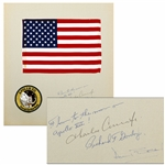 Apollo 12 Flown U.S. Flag, Measuring 11.5 x 8, Affixed to Presentation Mat Signed by Each of the Apollo 12 Crew Members: Charles Conrad, Richard Gordon & Alan Bean -- From Richard Gordon Estate