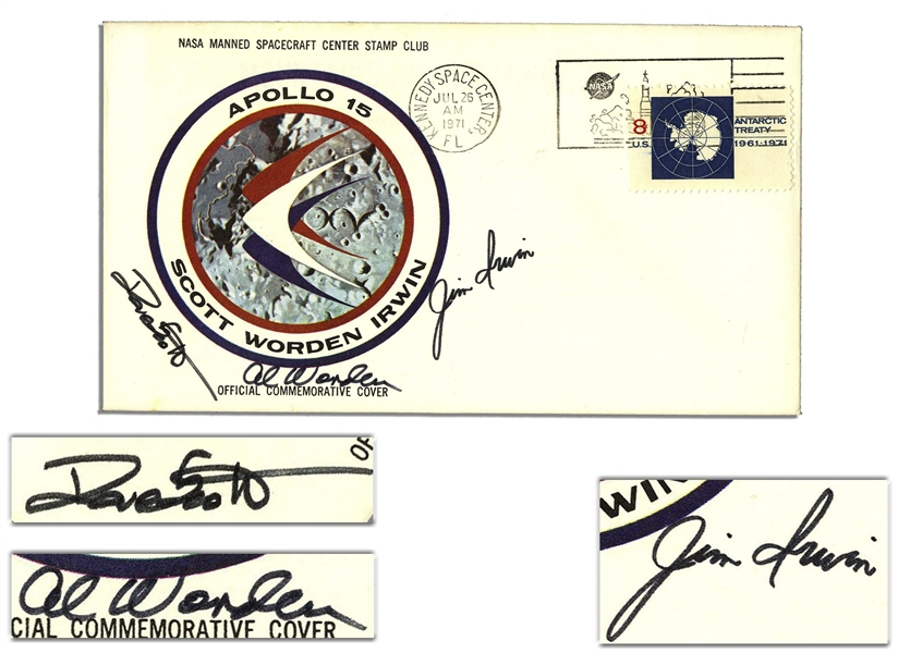 Apollo 15 Crew-Signed NASA Insurance Cover -- With COA From Al Worden & Additionally Signed Twice by Worden on Verso, ''from my Personal Collection''