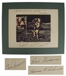 Apollo 17 Photo Display Signed by Gene Cernan, Ron Evans and Harrison Schmitt -- Measures 14 x 11