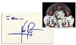 Neil Armstrong Signature, With NASA Photo of the Apollo 11 Crew -- With Steve Zarelli COA