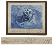 Artwork Signed by 14 Apollo Astronauts -- Neil Armstrong, Edward White, Alan Shepard, Gordon Cooper, John Young, John Glenn, Charles Conrad, Elliot See, James Lovell & 5 More