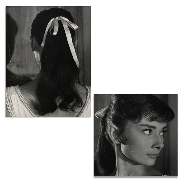 Audrey Hepburn Personally Owned Pair of Photos From ''War and Peace'', Testing a Hairstyle for the Film -- From the Personal Collection of Audrey Hepburn