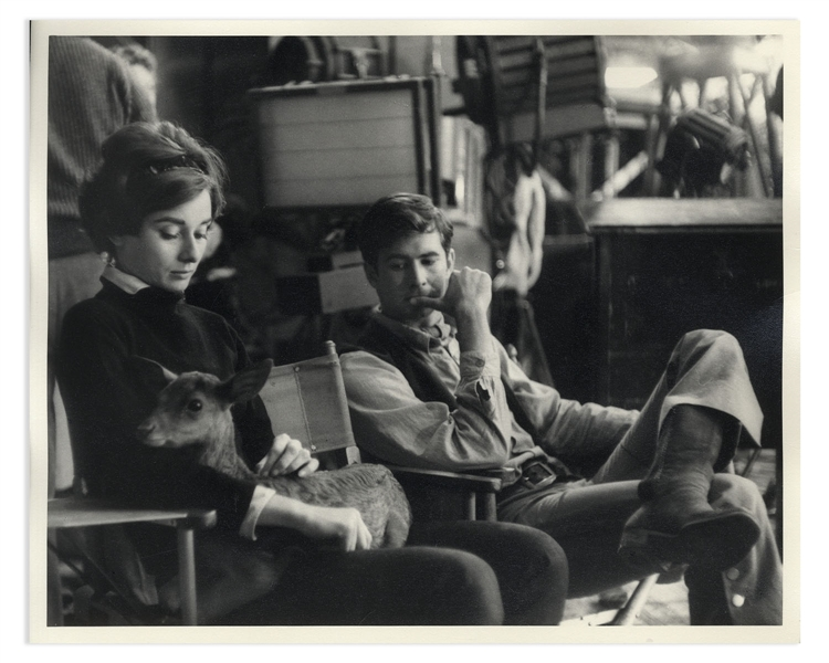 Audrey Hepburn Personally Owned 10'' x 8'' Production Still From ''Green Mansions'' -- Hepburn Is Shown With ''Ip'' the Deer & Co-Star Anthony Perkins