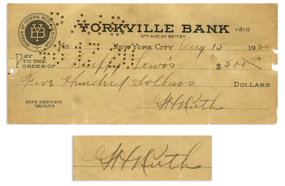 Babe Ruth Check Signed From 1920 -- Made Out Entirely in His Hand to His Teammate Duffy Lewis -- PSA Slabbed