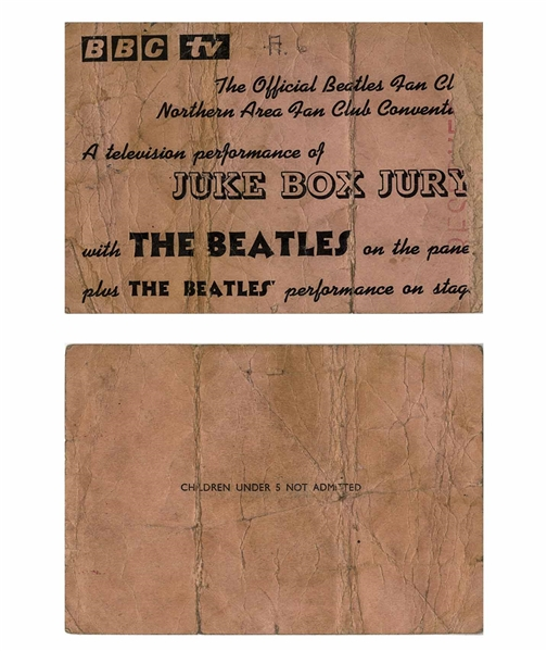 The Beatles Ticket for Their 7 December 1963 Appearance on the BBC's ''Juke Box Jury''