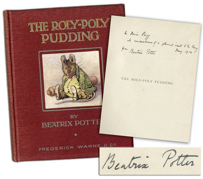 Beatrix Potter Signed First Edition, Second Issue of ''Roly-Poly Pudding''