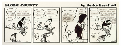 Berke Breathed Original Hand-Drawn Comic Strip for Bloom County -- Featuring Opus & Milo Bloom