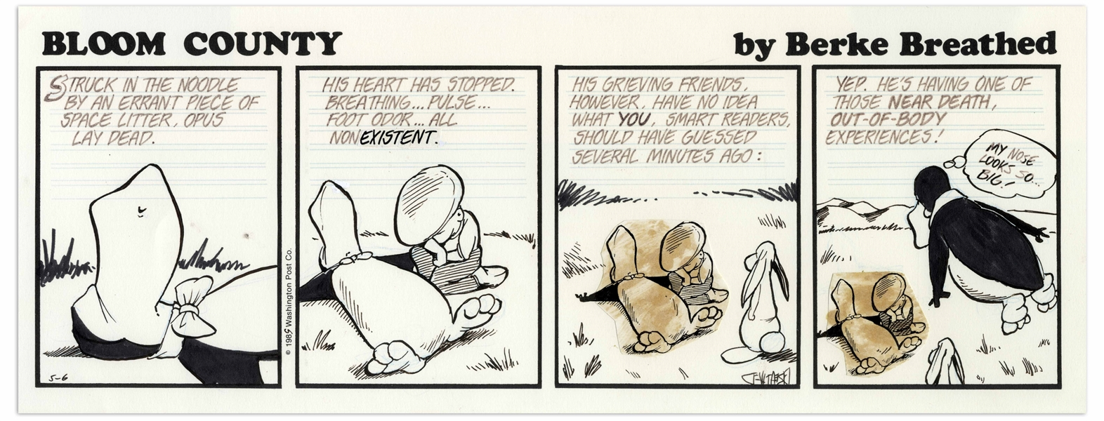 Berke Breathed Original Hand-Drawn Comic Strip for ''Bloom County'' -- Opus Has a Near Death Experience