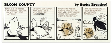 Berke Breathed Original Hand-Drawn Comic Strip for Bloom County -- Opus Has a Near Death Experience