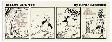 Berke Breathed Original Hand-Drawn Comic Strip for Bloom County -- Milo Scares Opus