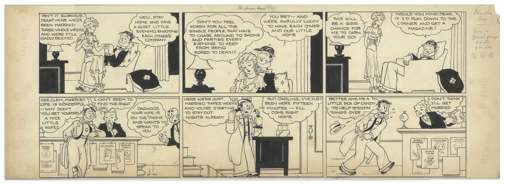 Chic Young Hand-Drawn ''Blondie'' Sunday Comic Strip From 1933 -- Blondie and Dagwood as Newlyweds, Just Days After Their Wedding