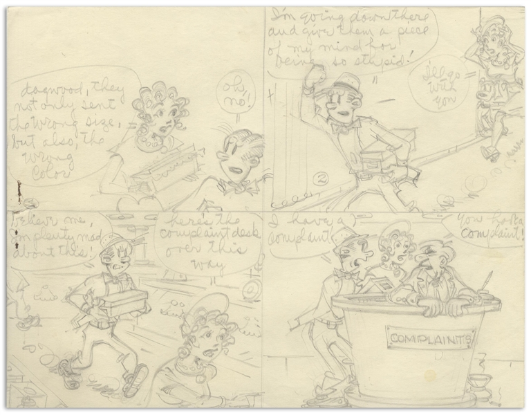Chic Young Hand-Drawn ''Blondie'' Sunday Comic Strip From 1969 -- With Young's Original Draft Artwork & Description of the Action in Each Panel
