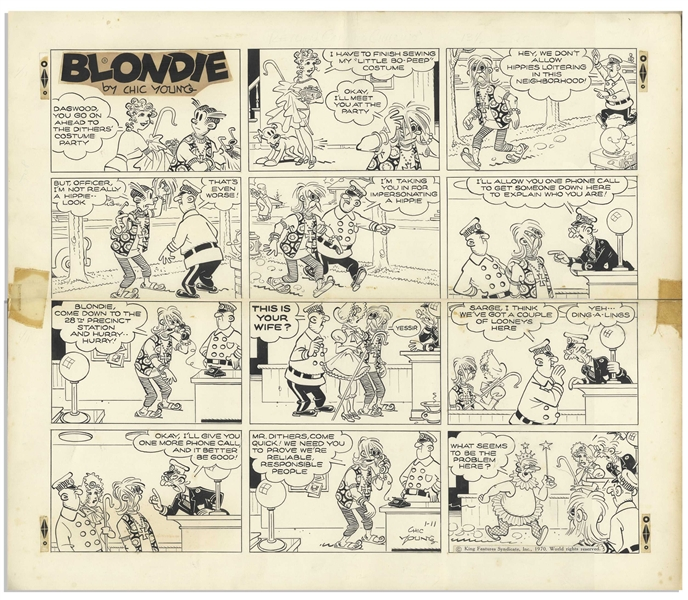 Chic Young Hand-Drawn ''Blondie'' Sunday Comic Strip From 1970 -- Featuring Dagwood as a Hippie, Blondie as Little Bo-Peep & Mr. Dithers as a Fairy Godmother