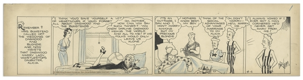 Chic Young Hand-Drawn ''Blondie'' Comic Strip From 1932 Titled ''The Spider and the Fly'' -- Blondie & Dagwood's Wedding Is Called Off