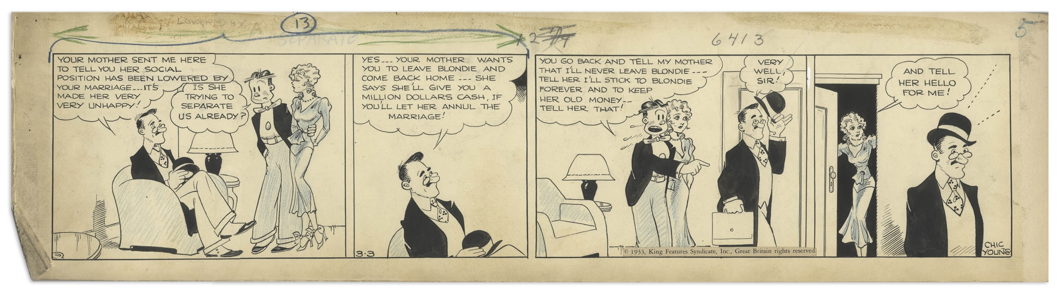 Chic Young Hand-Drawn ''Blondie'' Comic Strip From 1933 Titled ''Friendly Enemy'' -- Dagwood's Parents Want to Annul His Marriage to Blondie