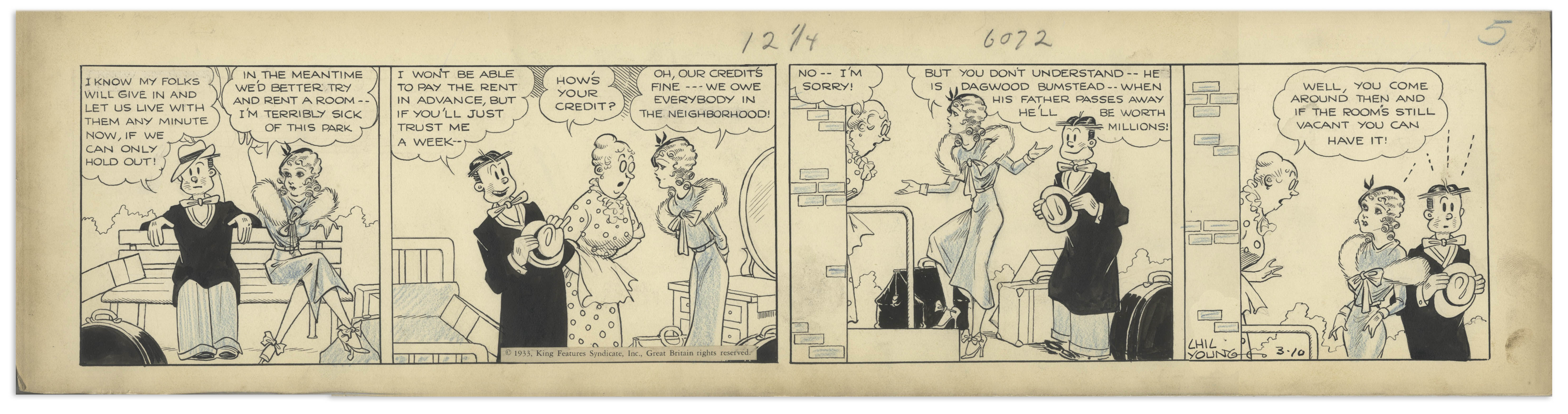 Lot Detail - Chic Young Hand-Drawn ''Blondie'' Comic Strip
