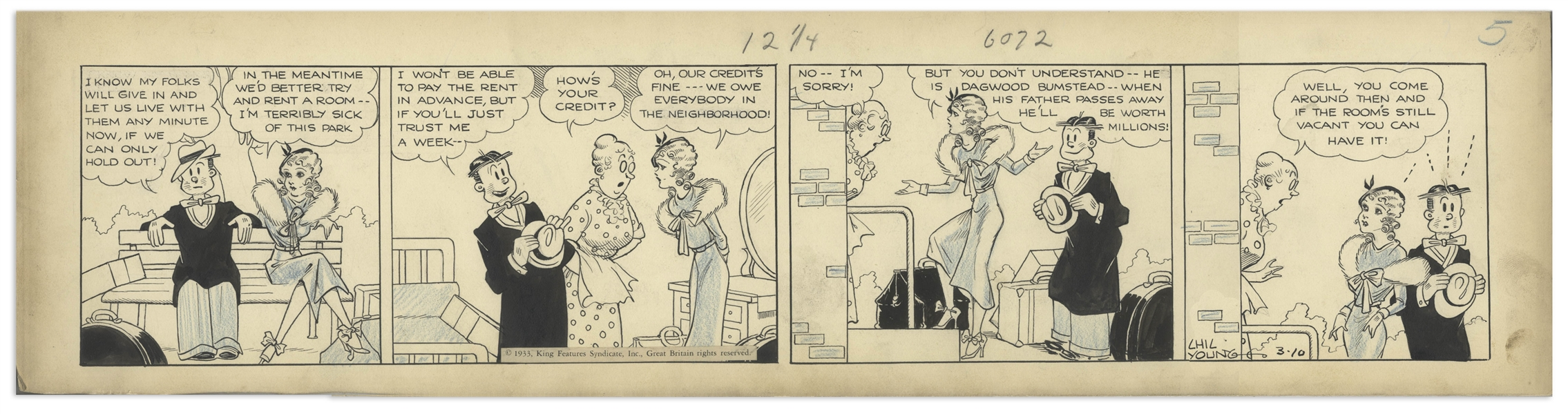 Chic Young Hand-Drawn ''Blondie'' Comic Strip From 1933 Titled ''Established Credit'' -- Dagwood & Blondie Have Money Problems