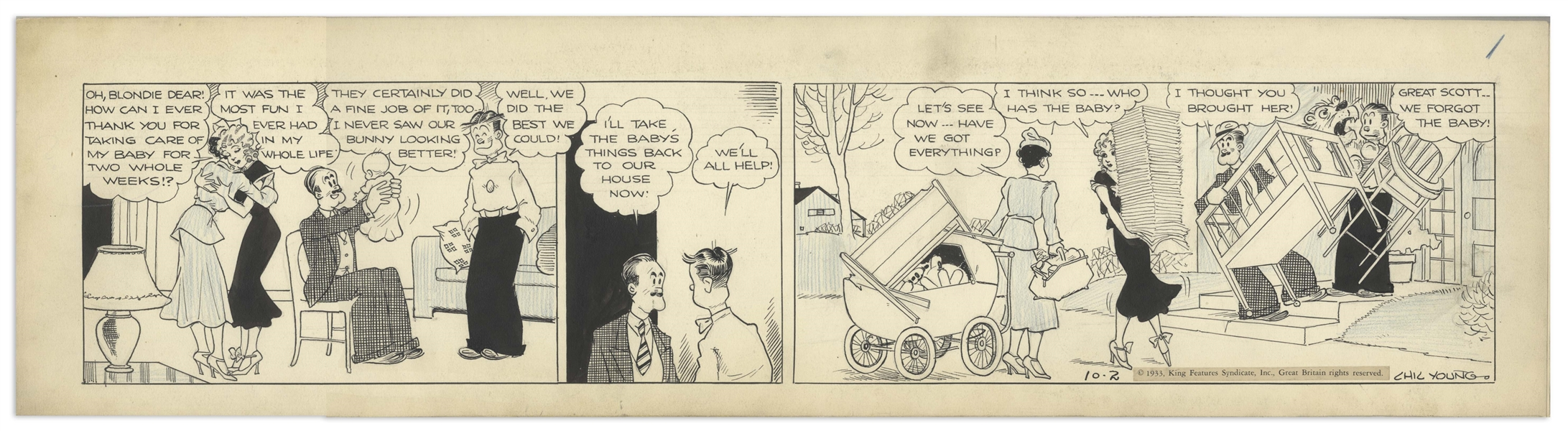 Chic Young Hand-Drawn ''Blondie'' Comic Strip From 1933 Titled ''Just a Minor Detail'' -- The Woodley's Have a Baby