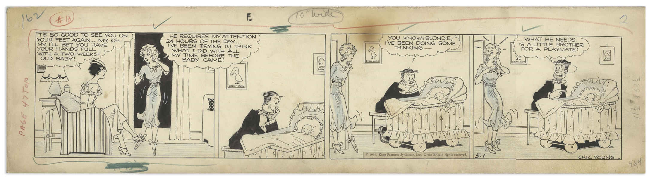 Chic Young Hand-Drawn ''Blondie'' Comic Strip From 1934 Titled ''A Forty-Eight Hour Shift'' -- Baby Dumpling Is Only 2 Weeks Old