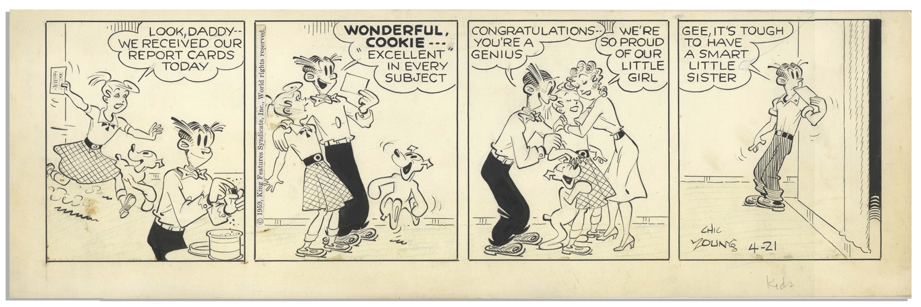 Chic Young Hand-Drawn ''Blondie'' Comic Strip From 1959 Titled ''Smarty Pants!''