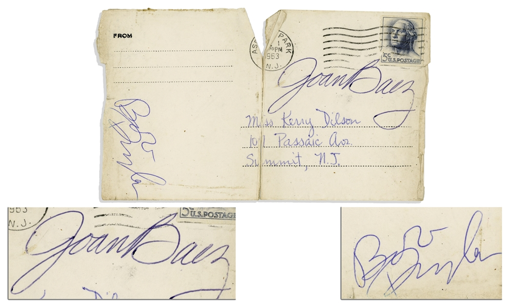 Bob Dylan & Joan Baez Signatures -- From a 1963 Concert