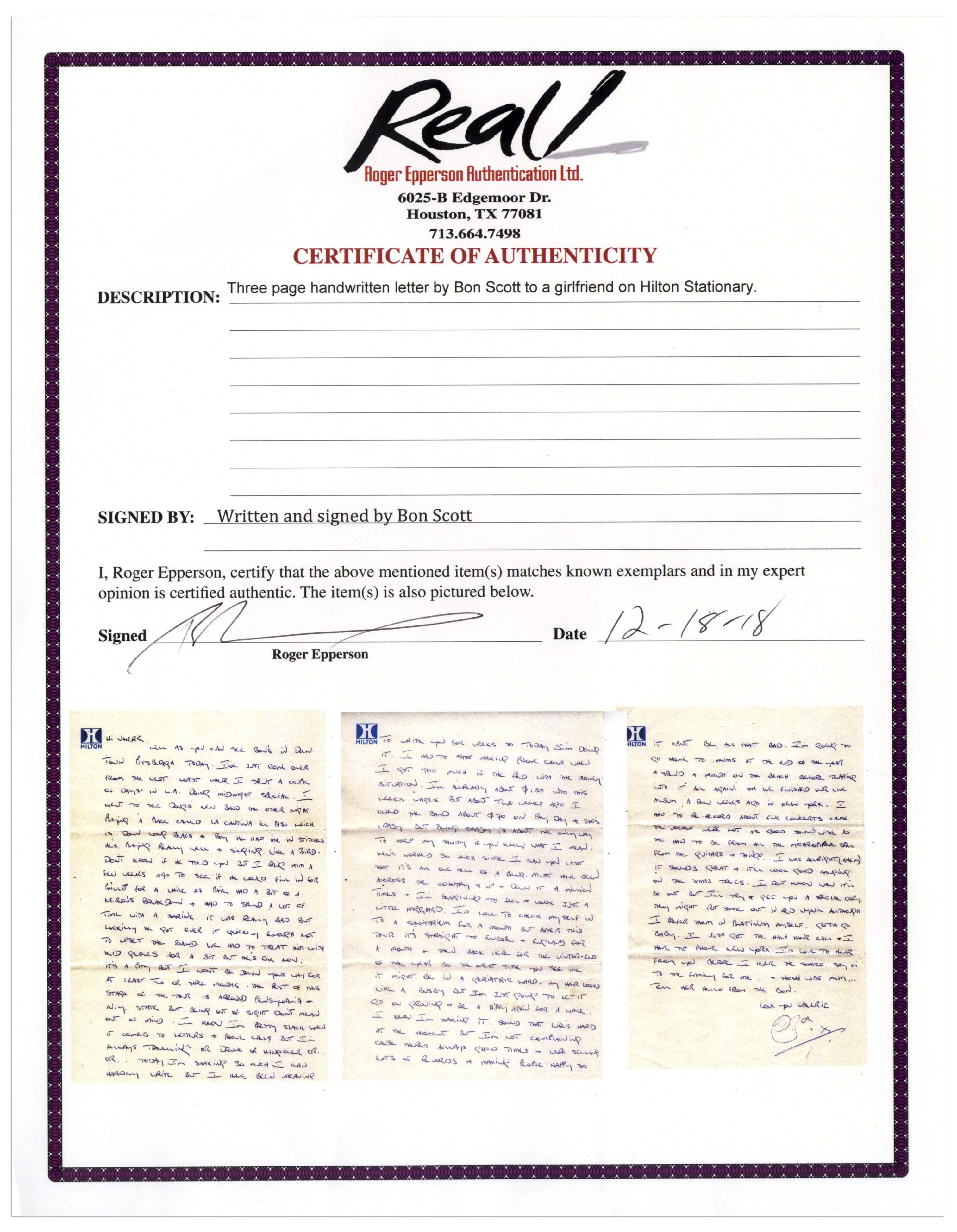 Bon Scott Autograph