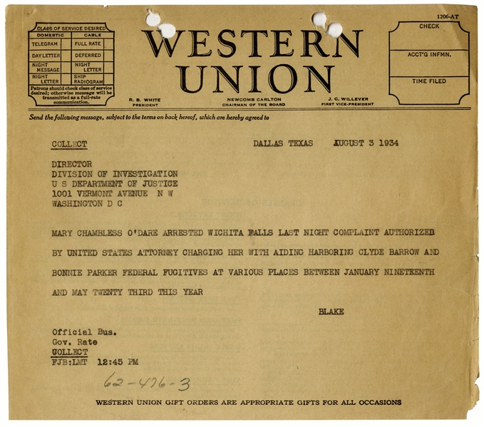 Bonnie & Clyde Telegram From 1934 -- The FBI Arrests Conspirator Mary O'Dare