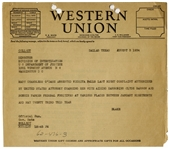 Bonnie & Clyde Telegram From 1934 -- The FBI Arrests Conspirator Mary ODare