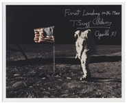 Buzz Aldrin Signed 10 x 8 First Landing on the Moon Photo -- Aldrin Stands in Front of the U.S. Flag on the Moon