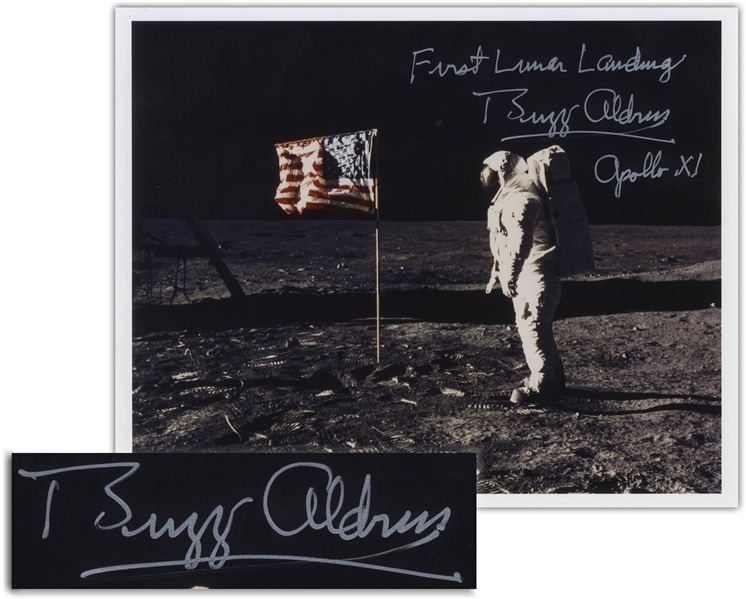 Buzz Aldrin Signed 10'' x 8'' ''First Lunar Landing'' Photo -- Aldrin Stands in Front of the U.S. Flag on the Moon