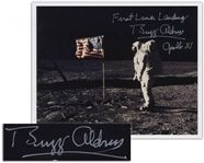 Buzz Aldrin Signed 10 x 8 First Lunar Landing Photo -- Aldrin Stands in Front of the U.S. Flag on the Moon