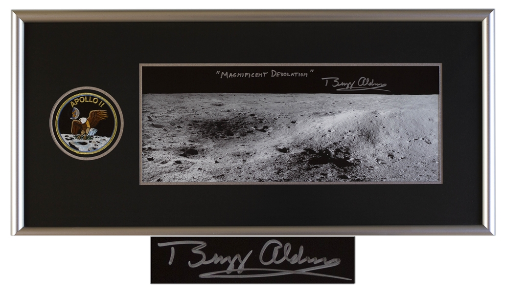 Spectacular Buzz Aldrin Signed 20'' x 8'' Photo, Titled by Aldrin ''Magnificent Desolation'' -- With Novaspace COA